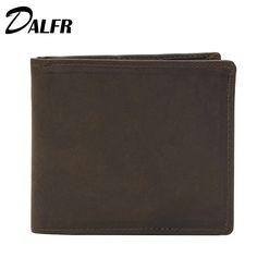 DALFR Genuine Leather Short Mens Wallets Card Holder Male Wallet 5 Inch Fashion Money Purse for Men