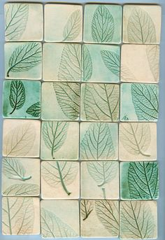 24 leaf impression tiles and free bonus tiles by firedandfused, $50.00