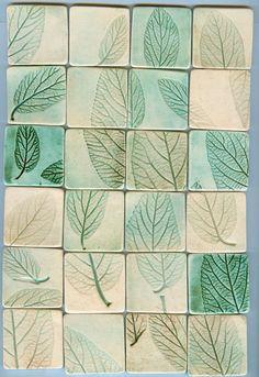 24 leaf impression tiles and free bonus tiles by firedandfused, $50.00