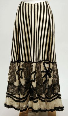 A fad for black and white stripes emerged right around the turn of the 20th century which is when this gorgeous silk petticoat dates from.