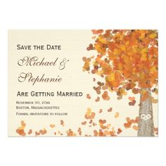 Carved Tree Fall Save the Date Wedding Photo Cards Announcement