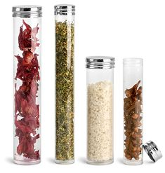 @Allison Burns these might be a chic favor idea... this site has bulk wholesale jars and bottles | Clear Round Tubes w/ Silver Metal Screw Caps