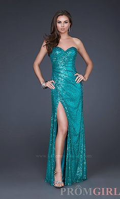 Floor Length Strapless Sequin Gown Reminds me of Elsa from Frozen :)