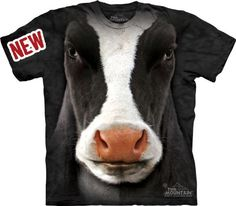 Mountain Black Cow Face Adult Size T-shirt