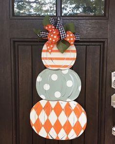 Items similar to Fall Door Hanger - Stacked Pumpkin Door Hanger -Fall Porch decor - Pumpkin Door Sign - Pumpkin Decor -Triple Pumpkin on Etsy Fall Door Hangers, Wooden Door Hangers, Wooden Doors, Pumpkin Decorating, Porch Decorating, Fall Canvas Painting, Pumpkin Door Hanger, Wooden Pumpkins, Front Door Decor
