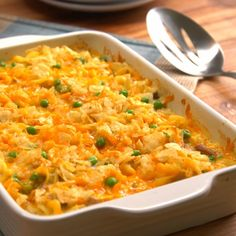 An easy, cheesy, creamy take on the all-American Tuna Noodle Casserole with a little bit of crunch you can mix up in the dish. Your whole family will love it. Best Tuna Casserole, Tuna Noodle Casserole Recipe, Crushed Potatoes, Food Dishes, Allrecipes, Macaroni And Cheese, Noodles, Meals, Cooking