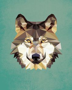 Wolf, Geometric, Poly, Polygon, Poster, Art, Illustration, Hiking, Forest, Kid Nursery, Mammal, Shapes, Teal, Home Decor [NO 008] by IronBrothers17 on Etsy