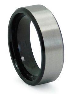 Two Tone Black Titanium Wedding Ring with Beveled Edges