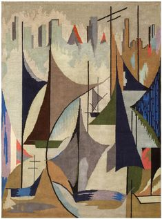 sailboats and a skyline (Art-Deco French Rug 46094 Main Image - By Nazmiyal) Plywood Furniture, Art Deco Furniture, Retro Furniture, Furniture Showroom, Urban Furniture, Street Furniture, Furniture Logo, Furniture Chairs, Furniture Layout