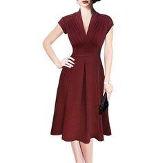 Retro Style V-Neck Wine Red Short Sleeve Dress For Women