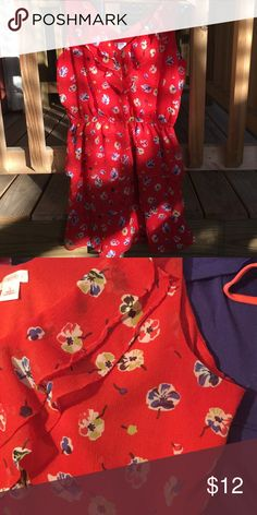 Floral Dress 🌺 Flowy and bright red floral dress! It has a v-neck cut, lined with ruffles, and four tiers on the lower half. Elastic waistband creates a nice, cinched effect on the waist! The print is so cute and fun!  Good condition, only worn a few times xhilaration Dresses Midi