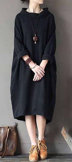 Buy cotton clothes For Women Omychic patchwork Neckline black high neck cotton D. - Buy cotton clothes For Women Omychic patchwork Neckline black high neck cotton Dresses - Linen Dresses, Cotton Dresses, Casual Dresses, Casual Outfits, Loose Dresses, Fall Outfits, Casual Shoes, Boho Fashion, Winter Fashion