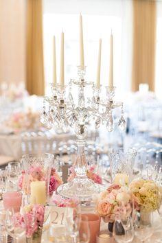 Crystal candelabras make a stunning centrepiece. props.wildatheart.com