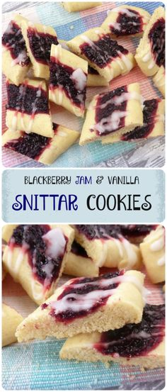 Snittar are diagonally cut cookies popular in Sweden. These are filled with homemade blackberry jam and taste like a soft shortbread! #shortbread