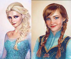 Elsa y Anna, de Frozen. El ilustrador y diseñador gráfico finlandés, Jirka Vinse Jonatan Väätäinen, logró captar la esencia humana de los personajes de Disney, y plasmarla en estas fabulosas ilustraciones. - Foto: facebook.com/JirkaVinse