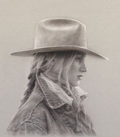 Carrie Ballantyne, Profile of a Wyoming Cowgirl, charcoal, 13 x 12.