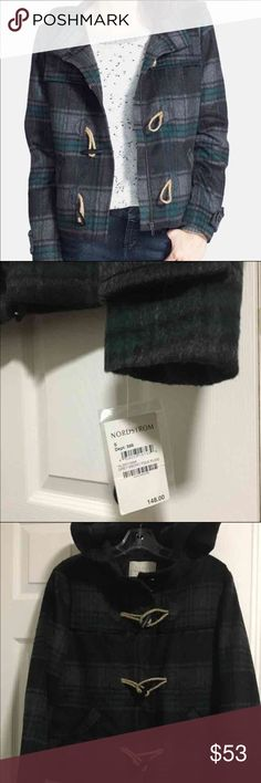 Nordstrom / Plaid Duffle Coat with hoodie Nordstrom / Plaid Duffle Coat with hoodie   Size S New Hoodie    68% off Retail $148   Please check out our store :) We have UGG, NIKE, The North Face, Under Armour, Trina Turk, Ralph Lauren, Gymboree for boys and girls, Puma, Abercrombie & Fitch, Lacoste, Tommy Bahama, Steve Madden, Stride Rite, Gap & more  We love to hunt for great deals to pass on to you!!! We carry dress, blouses, handbags, boys shoes, sneakers, boots, backpacks, sweaters…