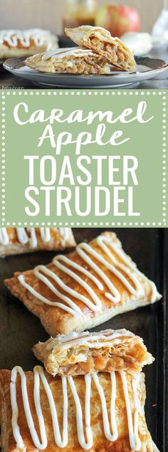 These Caramel Apple Toaster Strudel are a homemade twist on your childhood favorite! With a sticky sweet caramel apple filling and a cream cheese glaze, these are an upgrade on the classic.