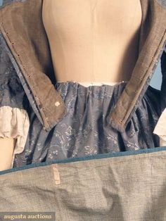 August Auctions -   1775-1790 & lined w/ dark taupe homespun linen, skirt & sleeves lined in white & blue windowpane linen
