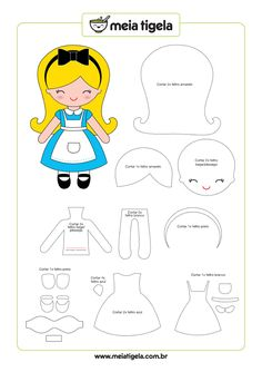 Alice in Wonderland doll pattern. Sewing pattern for a cute felt Alice doll.Discover thousands of images about Moldes para hacer princesas de fieltro o telaElliott Felt Paper Doll Pdf Pattern for Flannel Boardhow to make a felt pattern best FR Felt Doll Patterns, Stuffed Toys Patterns, Sewing Patterns, Dress Patterns, Felt Diy, Felt Crafts, Felt Dolls, Paper Dolls, Felt Templates