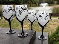 Whimsical Night Wineglass by TheUniqueMiniBoutiqu on Etsy