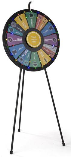 Prize Wheel with 12 - 24 Slots & Printable Templates, Floor or Countertop - Black