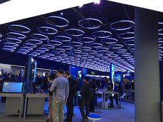 Really nice interactive lighting display changes colour as you walk underneath each circle.