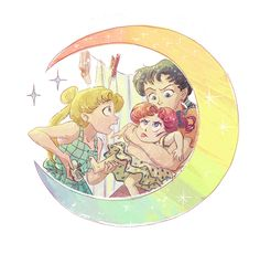 Usagi, Seiya and Chibi Chibi javorszarvas.tumblr.com