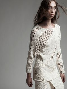 A wow crochet fashion design: Tunisian simple stitch strips alternate with regular filet crochet. On. the. bias! #sungheebang #ss2015