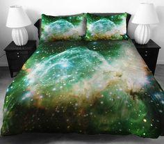 weltall Bettwäsche und Bettlaken grün lebendig