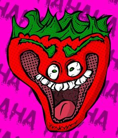 A crazy cartoon strawberry laughing like a madman. • Also buy this artwork on wall prints, apparel, stickers, and more.