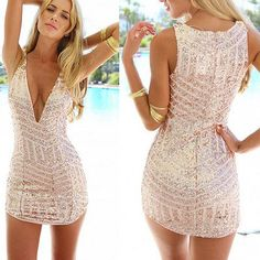 Osaili Women Summer Party Dress Sexy deep V Neck Bodycon Gold Sequin Dress Hollow Cut Out Glitter Women Tropical Club Mini dress Sexy Party Dress, Prom Party Dresses, Sexy Dresses, Homecoming Dresses, Casual Dresses, Short Dresses, Fashion Dresses, Clubbing Dresses, Sparkly Dresses