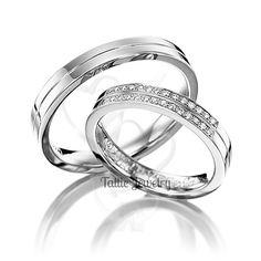 His & Hers Matching Wedding Rings Set14K White Gold Diamond