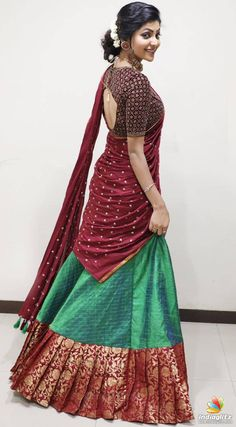 Lehnga Dress 681450987353952625 You are in the right place about fancy blouse designs Here we offer Lehenga Saree Design, Half Saree Lehenga, Lehnga Dress, Lehenga Designs, Saree Gown, Lehenga Style, Designer Party Wear Dresses, Indian Designer Outfits, Indian Outfits