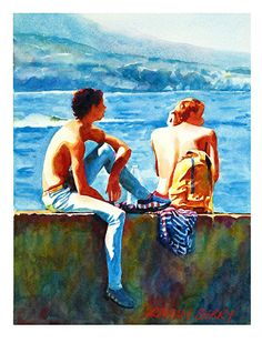"""two lads by Graham Berry Watercolor ~ 12"""" x 9"""""""