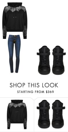 """""""😊"""" by melodyleighmitchell ❤ liked on Polyvore featuring McQ by Alexander McQueen, Giuseppe Zanotti and Frame"""
