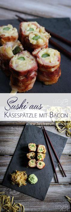 Käsespätzle Sushi mit Bacon, Bärlauch-Wasabi und Schmelzzwiebeln
