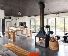 Pierina & Joseph's Converted Shed in Country Victoria | HOMES TO LOVE Radiante 846 3V fireplace
