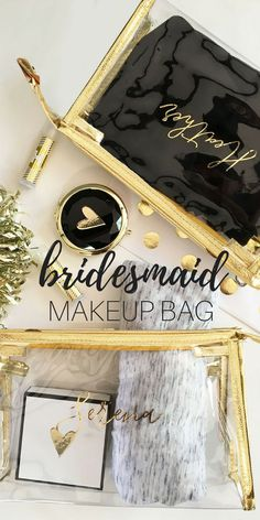 Personalized Bridesmaid Makeup Bag Brautjungfer Make-up Tasche Bridesmaid Gifts From Bride, Bridesmaid Makeup Bag, Will You Be My Bridesmaid Gifts, Bridesmaid Gift Bags, Bridesmaid Proposal Box, Bridesmaid Ideas, Beach Wedding Gifts, Friendship Gifts, Wedding Makeup