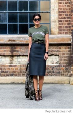 Black midi skirt and olive top