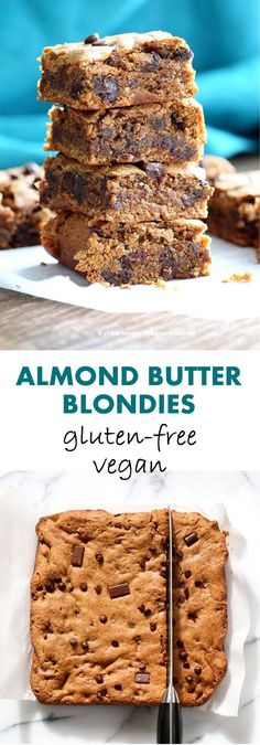 Almond Butter Blondies with Chocolate Chunks and Chocolate Chips. #vegan #glutenfree #soyfree