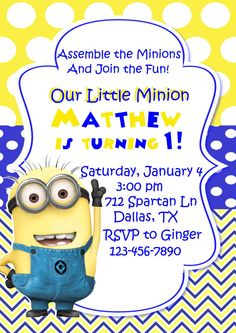 Hey, I found this really awesome Etsy listing at https://www.etsy.com/listing/190891411/despicable-me-invitation-minion