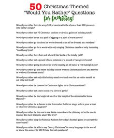 "Are you looking for a fun game to play with your family at the Thanksgiving dinner table? These Thanksgiving themed ""Would You Rather?"" questions are perfect for the entire family! Funny Christmas Games, Christmas Party Themes, Holiday Games, Christmas Party Invitations, Christmas Activities, Christmas Traditions, Christmas Humor, Holiday Fun, Christmas Trivia"