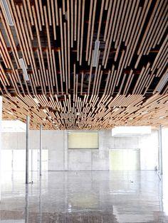 Multimedia Library And HQE Auditorium / deAlzua+ & Atelier Interesting Ceiling Design. Multimedia Library And HQE Auditorium Metal Room Divider, Bamboo Room Divider, Fabric Room Dividers, Wooden Room Dividers, Detail Architecture, Interior Architecture, Building Architecture, Auditorium Architecture, Auditorium Design