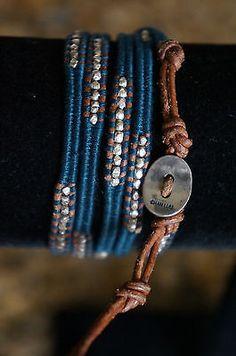 NEW Chan Luu Men Women Sterling Silver Nugget Navy Cotton 5 Wrap Bracelet - http://designerjewelrygalleria.com/chan-luu/new-chan-luu-men-women-sterling-silver-nugget-navy-cotton-5-wrap-bracelet/