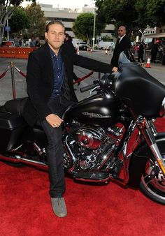 Charlie Hunam on a 2013 Harley-Davidson Denim Black Street Glide at the Season Five Premiere of Sons of Anarchy. Photo credit: Frank Micelotta/FX/PictureGroup.