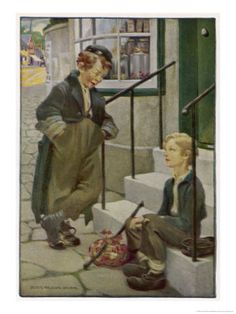 Oliver Twist's First Meeting with the Artful Dodger  by Jessie Willcox-Smith