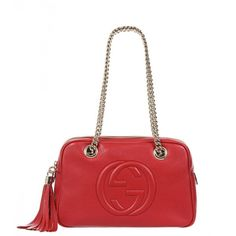 Gucci Red Leather Soho Chain Strap Shoulder Bag (1,835 CAD) ❤ liked on Polyvore featuring bags, handbags, shoulder bags, leather purse, leather handbags, red leather handbag, genuine leather purse and leather shoulder bag