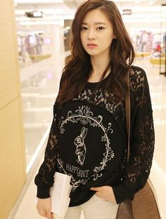 Korean Style New Lace Elegant Long Sleeve T-shirt-- Click on the picture to order it>>Shop price:US$12.38---#shoes #wholesale #fashion #lovely #cheap #Korean #dress #sexy #clothes#