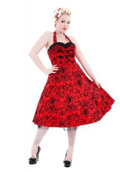 Vintage 1950s style Swallows Red Black Velvet Flocked Halter Dress - Modern Grease Clothing and Accessories Co.